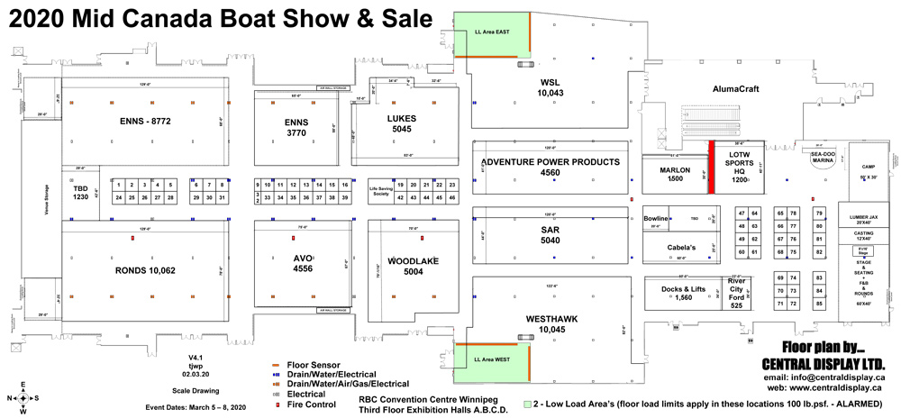2020 Mid Canada Boat Show & Sale Exhib Map
